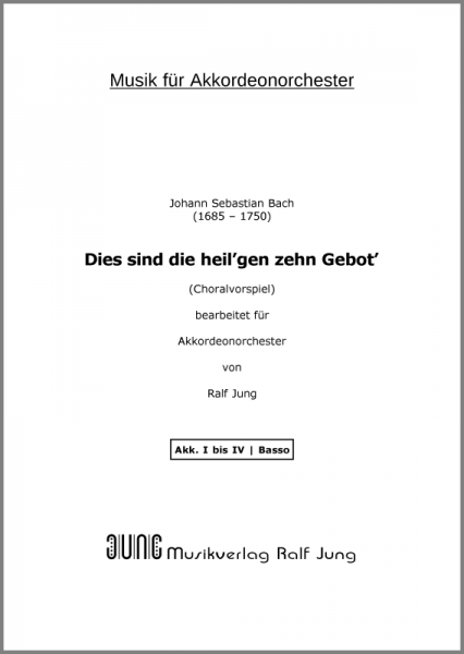Dies sind die heil'gen zehn Gebot' (BWV 678) (Ergänzungsstimme Basso)